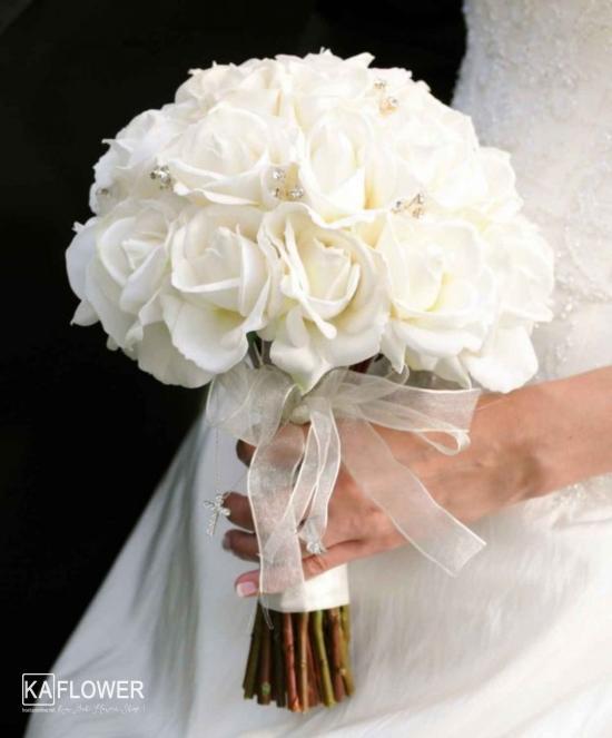 bó hoa cưới hồng trắng